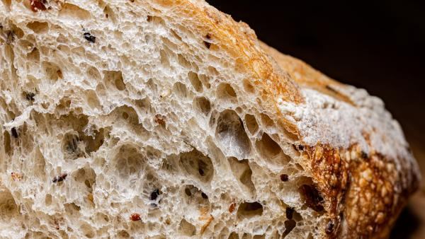 A close up image of delicious-looking bread.
