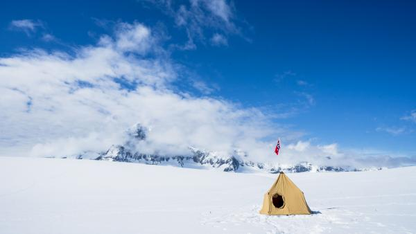 A historic Amundsen Tent in Antarctica.