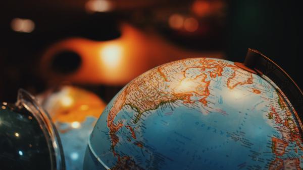 A globe with political boundaries