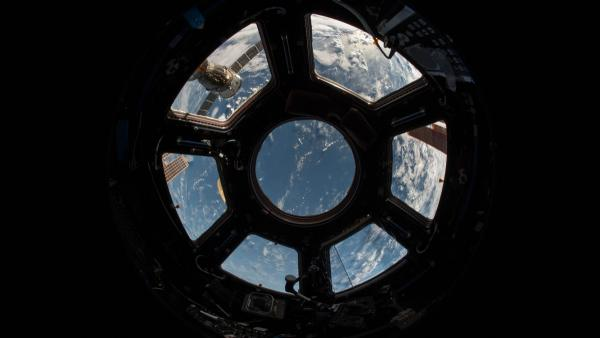 Inside a space capsule