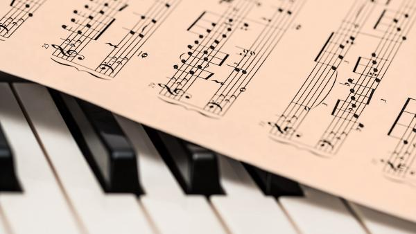 Piano with sheet music