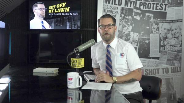 "Right-wing provocateur Gavin McInnes says he founded the Proud Boys in response to the ""war on masculinity."" Here McInnes appears on his online talk show, ""Get Off My Lawn."""