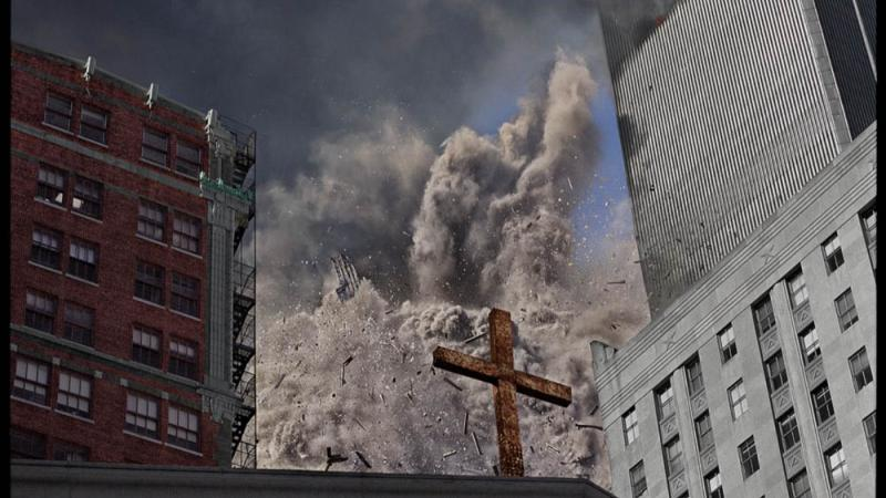 James Nachtwey, Collapse of the South Tower, Church of St. Peter on Church St. and Barclay, September 22, 2001.
