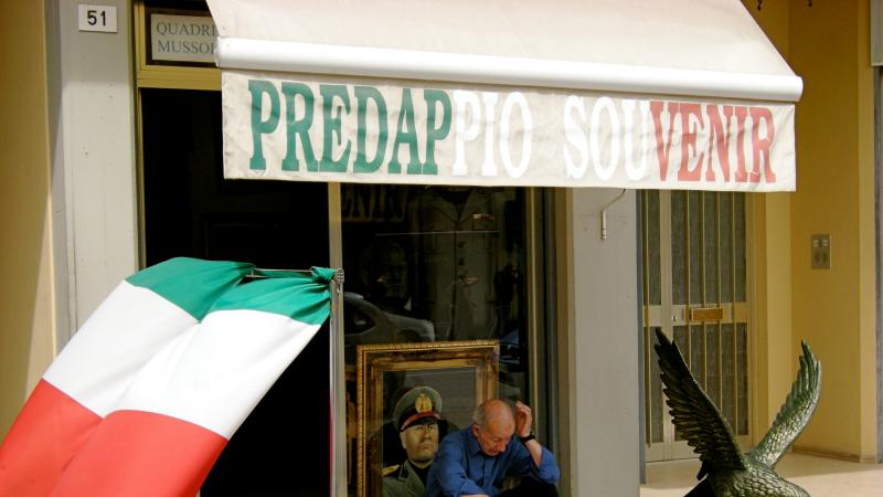 A shop selling fascist memorabilia in Predappio.