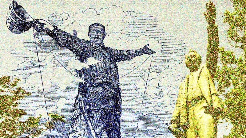 Cecil Rhodes cartoons and statues.
