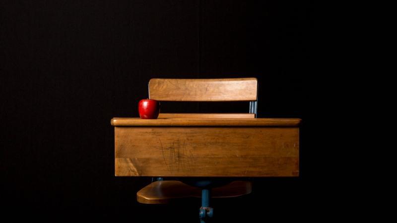 A lone school desk