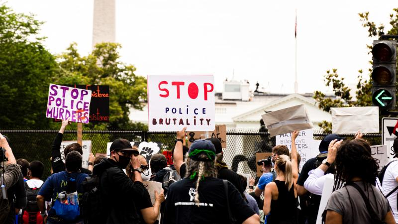 Demonstrators protest police brutality at a June 2 event in front of the White House.