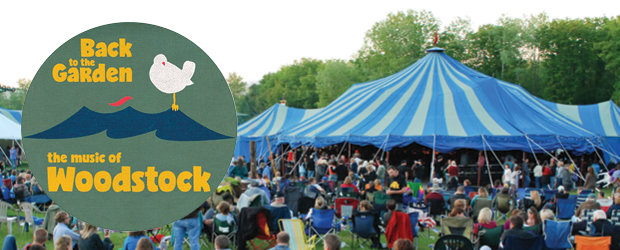 picture of the blue canvans tent at big top and logo for music of woodstock show