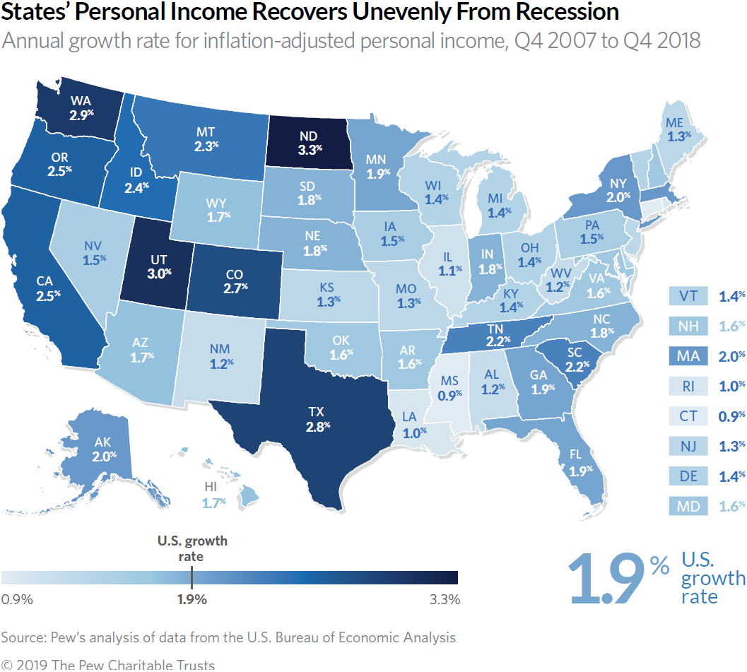 Map shows state by state personal income growth from 2007 through 2018.