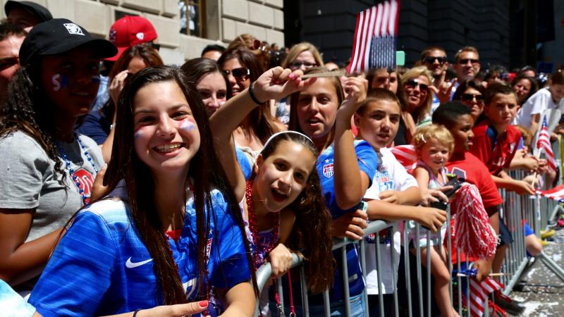 Crowd at parade for soccer team