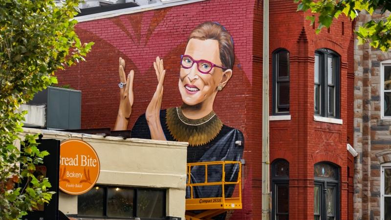 A mural of Ruth Bader Ginsburg in Washington, D.C.