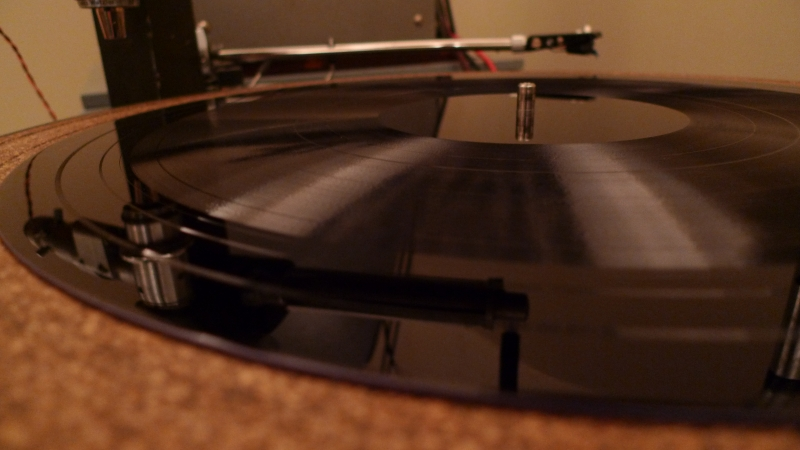 Record album on turn table