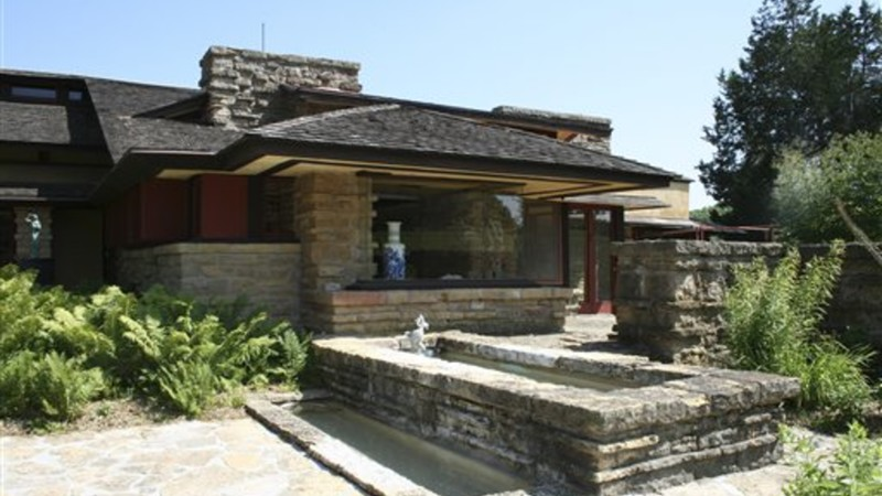 An exterior view of the library at Frank Lloyd Wright's home, called Taliesin, in Spring Green, Wisconsin.