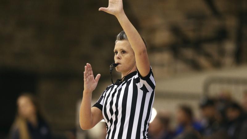 Basketball referee during an NCAA basketball game