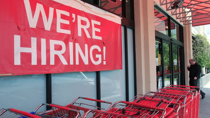 """We're hiring"" sign"