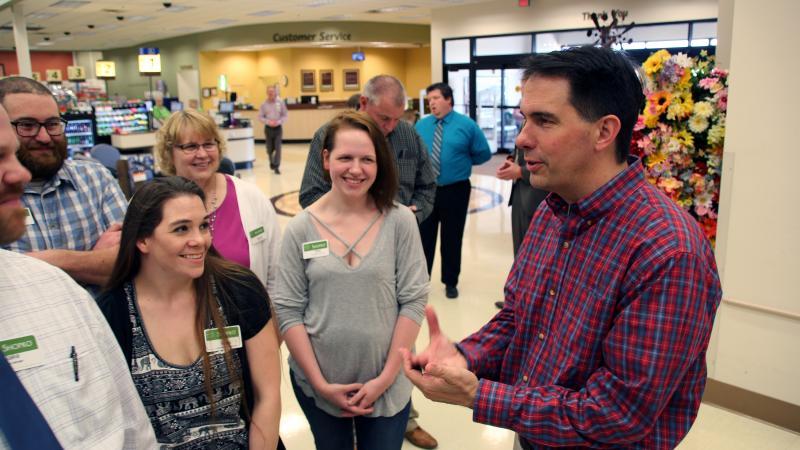 Scott Walker speaks to Shopko employees