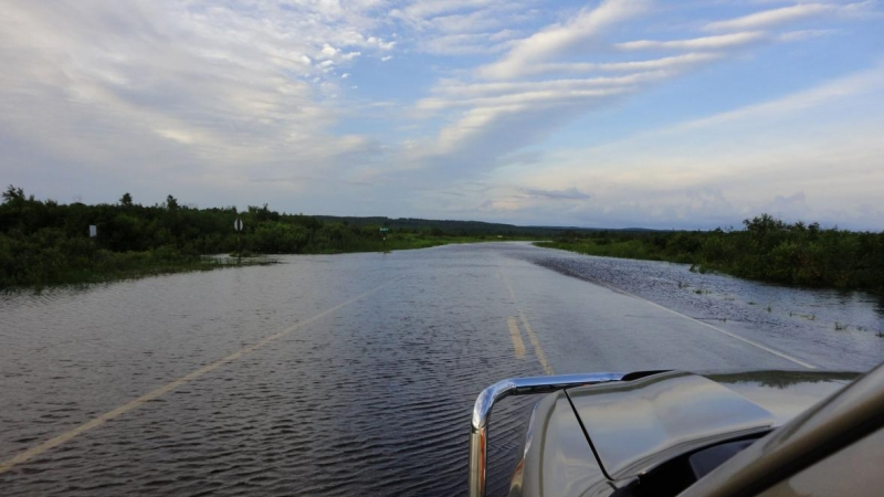 Flooding on Highway 63 by Bibon Swamp