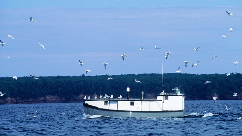 Commercial fishing boat near the Apostle Islands in Lake Superior