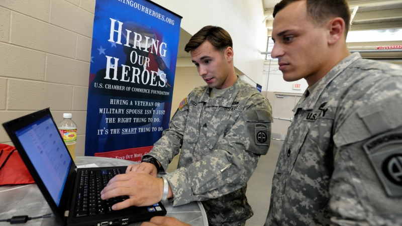 Veterans at a Hiring Our Heroes event