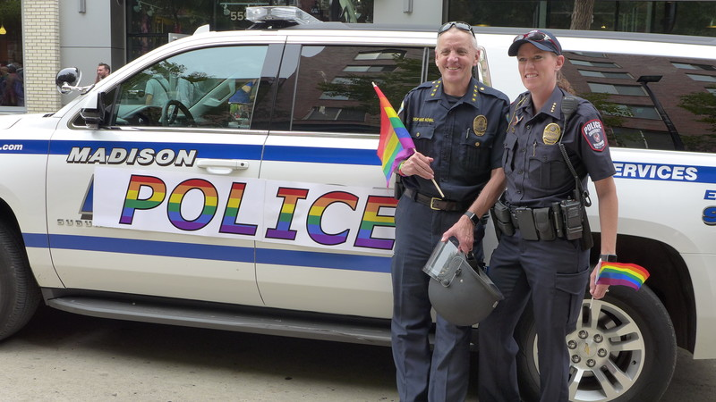 Madison Police Chief Mike Koval and UW Police Chief Kristen Roman at the 2017 Pride Parade in Madison