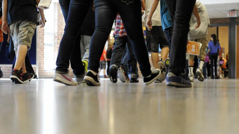 Students walking in the hallway