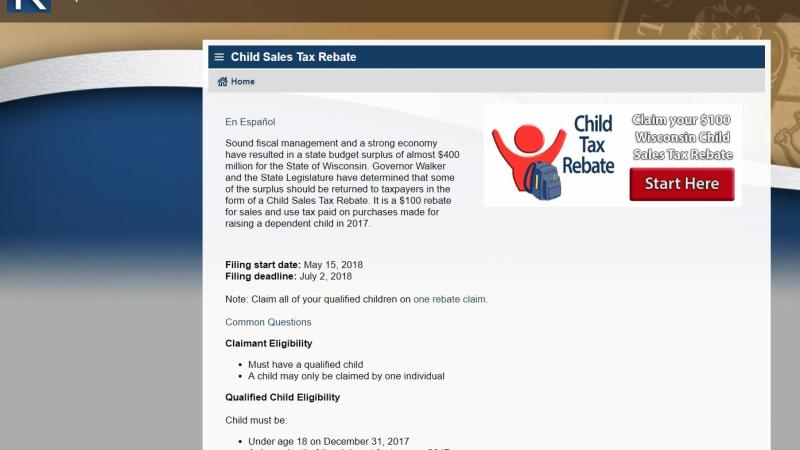 child tax rebate website