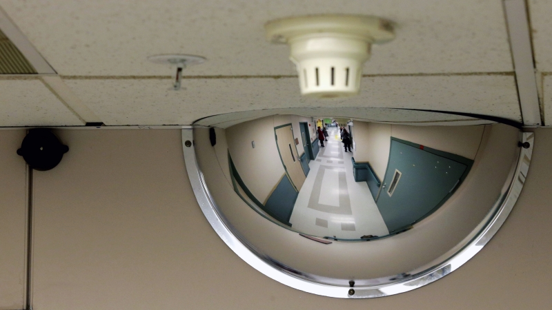 mirror on the ceiling in a ward at the Western State Hospital