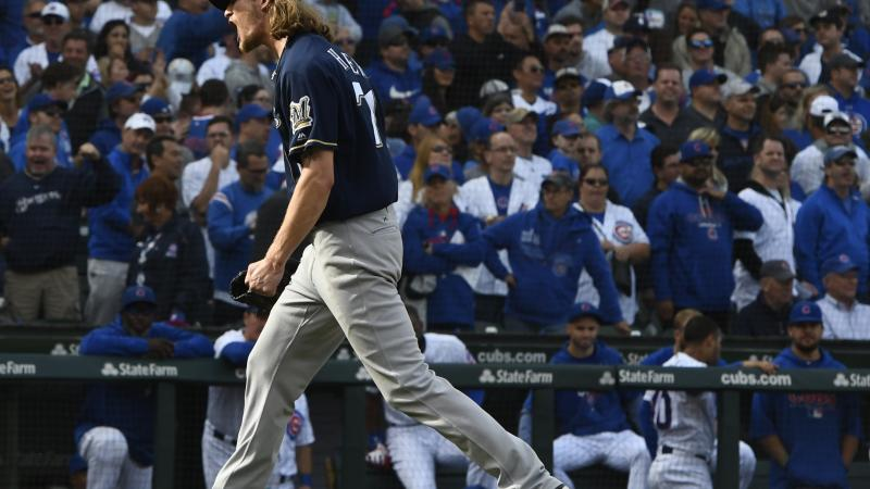 Milwaukee Brewers relief pitcher Josh Haderreacts after defeating the Chicago Cubs