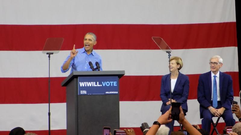 Barack Obama, Tammy Baldwin, Tony Evers, Milwaukee rally, October 2018