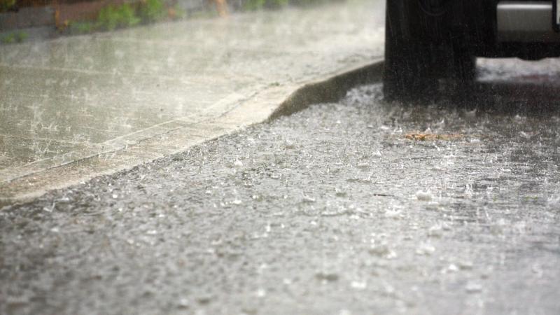 Rain falling on a street