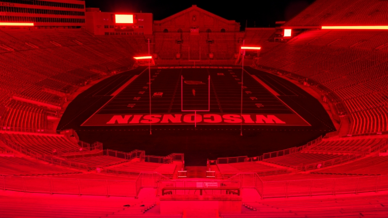 UW-Madison's Camp Randall stadium illuminated in red to honor class of 2020