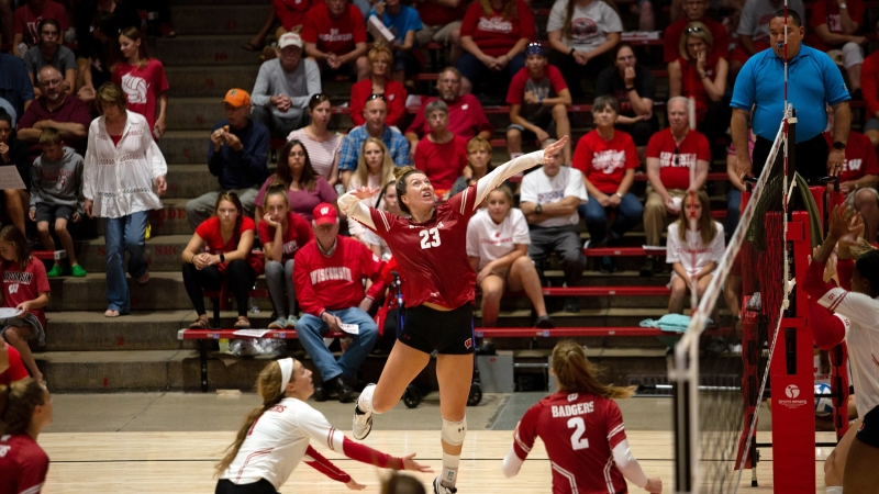 Molly Haggerty gets a kill for the Wisconsin Badgers