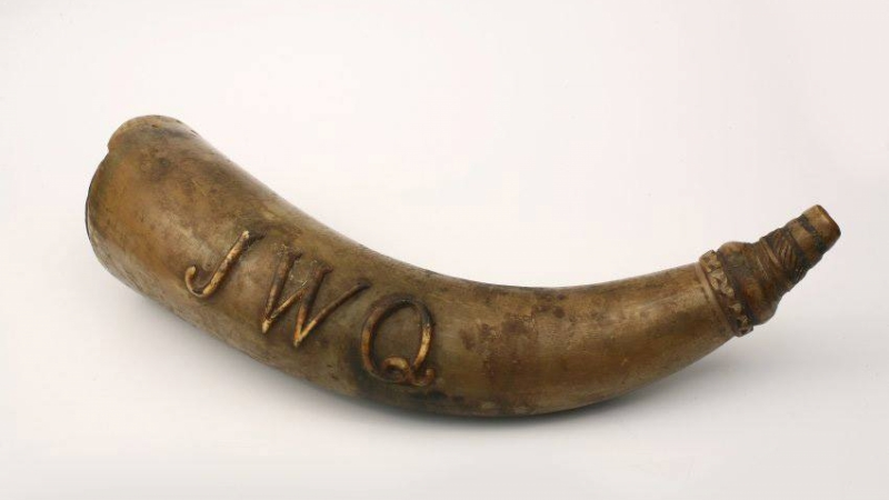 A 19th-century powder horn owned by Stockbridge-Munsee tribal leader John W. Quinney