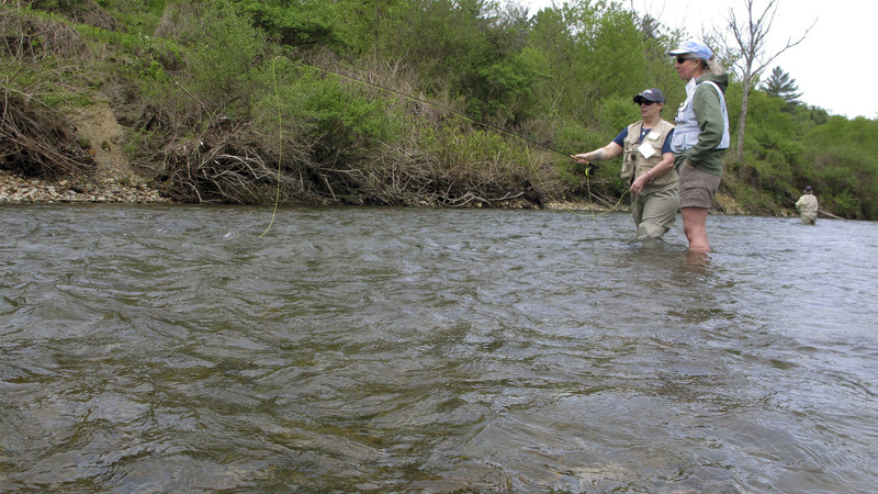 Amy Putnam learns to fly fish