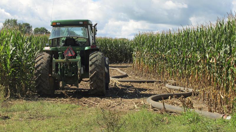 tractor, hose, manure, farming, runoff