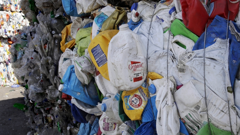 Bundled plastic goods at a waste and recycling company