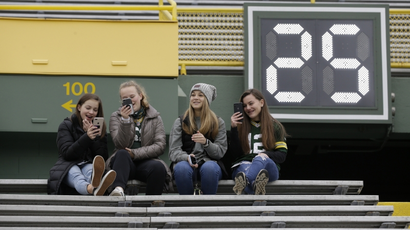 Fans sit in the stands at Lambeau Field