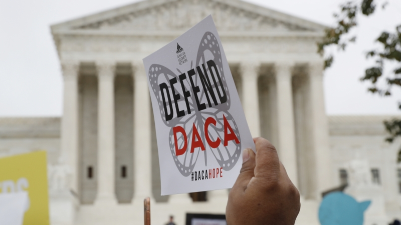 DACA recipients rally outside the Supreme Court