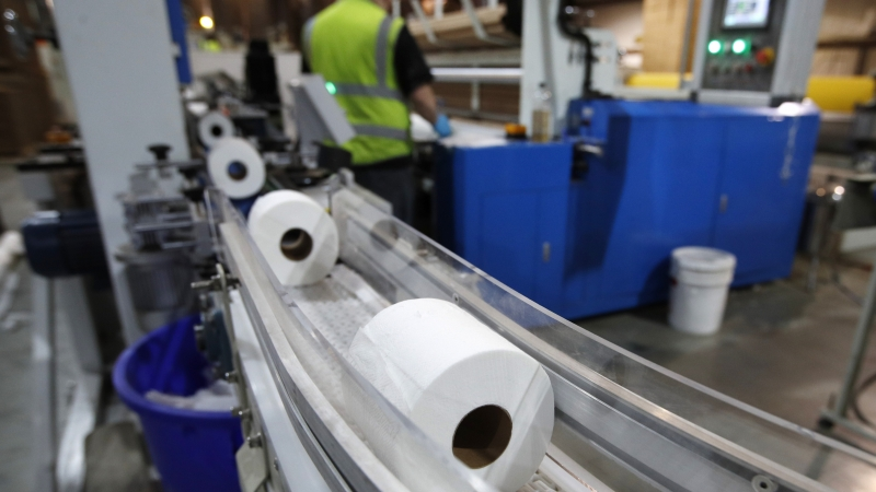 Toilet paper moves out from a cutting machine at the Tissue Plus factory