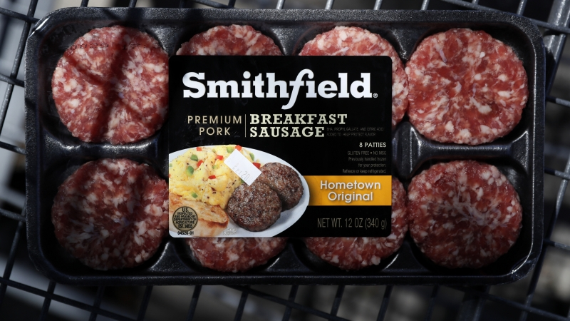 A package of Smithfield Foods breakfast sausage