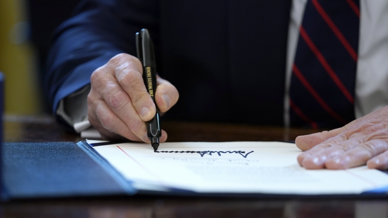 President Trump signs the March stimulus relief package