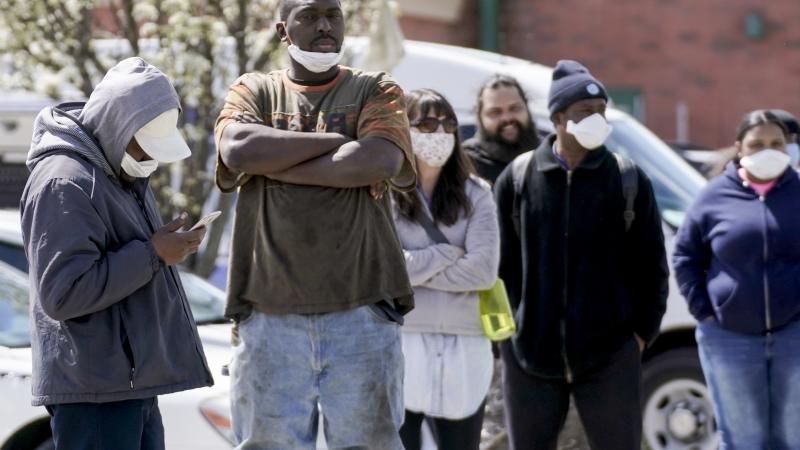 People waiting for coronavirus test in Milwaukee