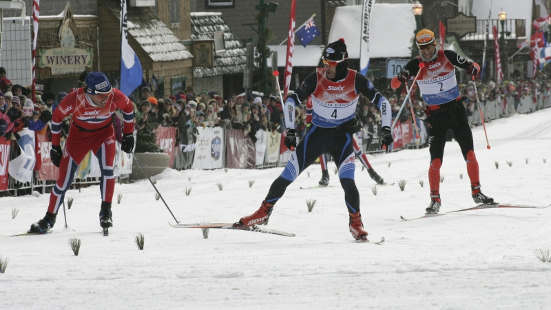 Sergio Bonaldi, of Italy, crosses the finish line to win the American Birkebeiner in 2015