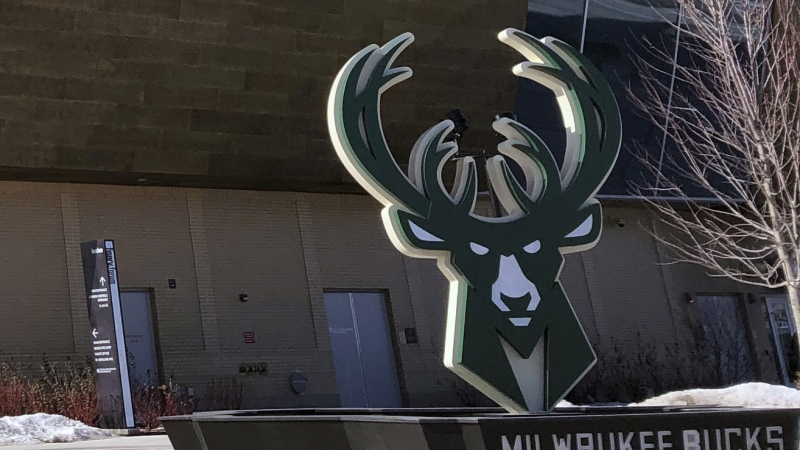 Milwaukee Bucks sign outside Fiserv Forum