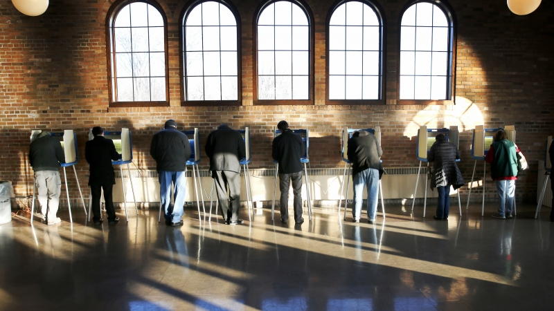 Milwaukee voters at polling place