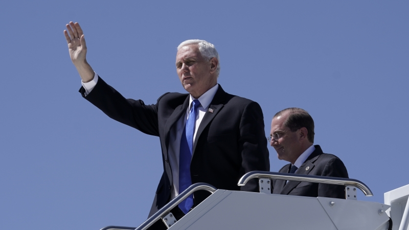 Mike Pence exits airplane