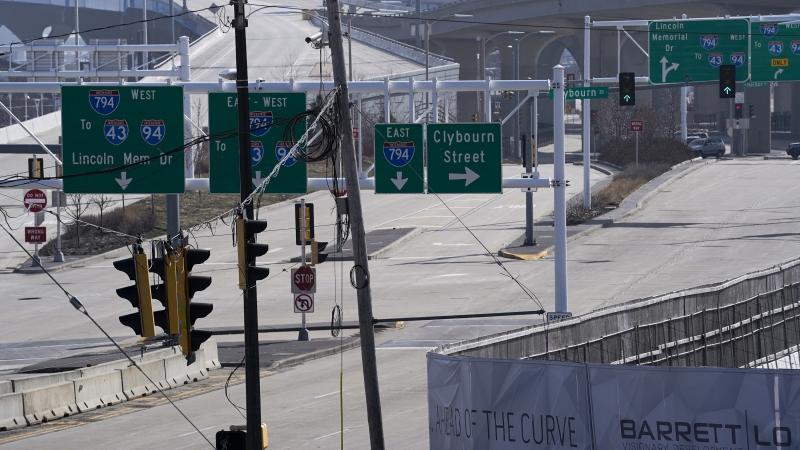 Empty highway in Milwaukee