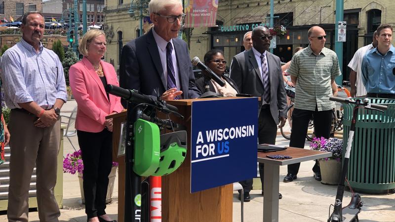 Tony Evers at podium