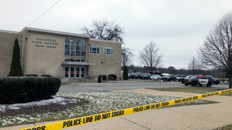 Police tape is posted outside Waukesha South High School