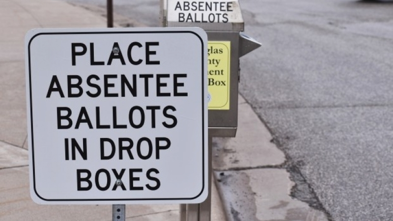 Superior has a drop box for absentee ballots outside the city's government center polling location.